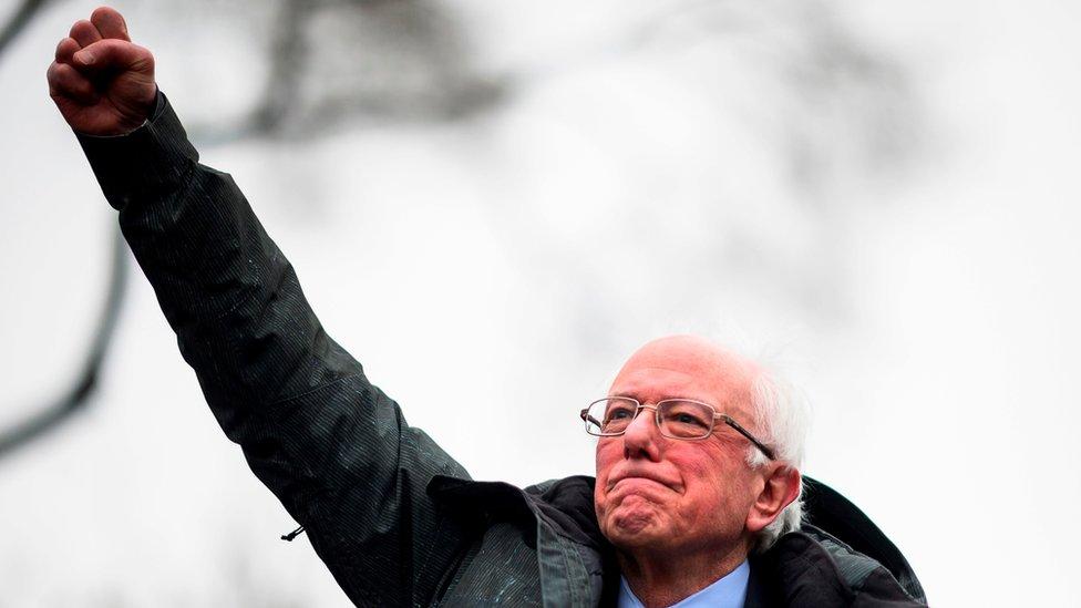 Američki senator Berni Sanders na mitingu