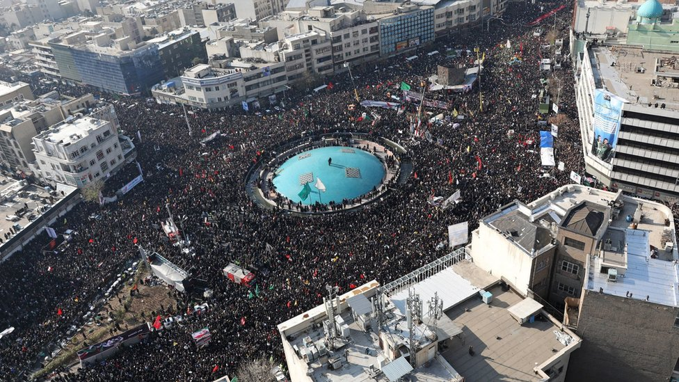 A handout photo made available by the Iranian supreme leader's office shows an areal view of Qasem Soleimani's funeral in Tehran, 6 January 2020