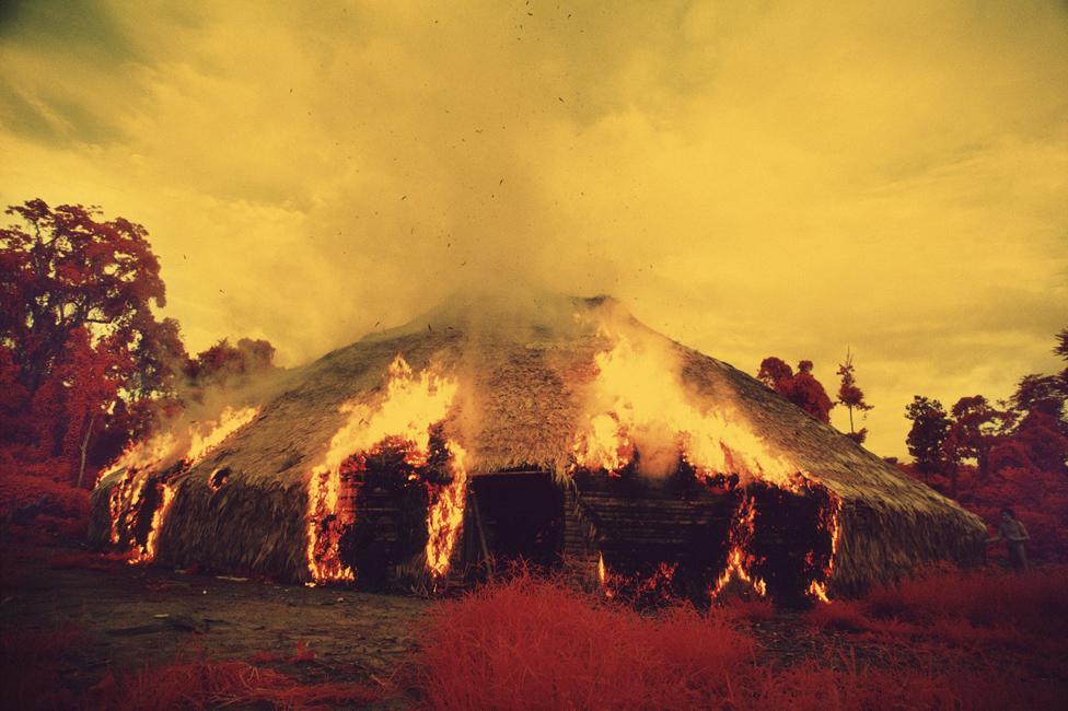 Janomami spaljuju malokalije kada migriraju, ako žele da se reše kuge ili ako umre važan vođa. Snimljeno infracrvenim filmom, 1976.