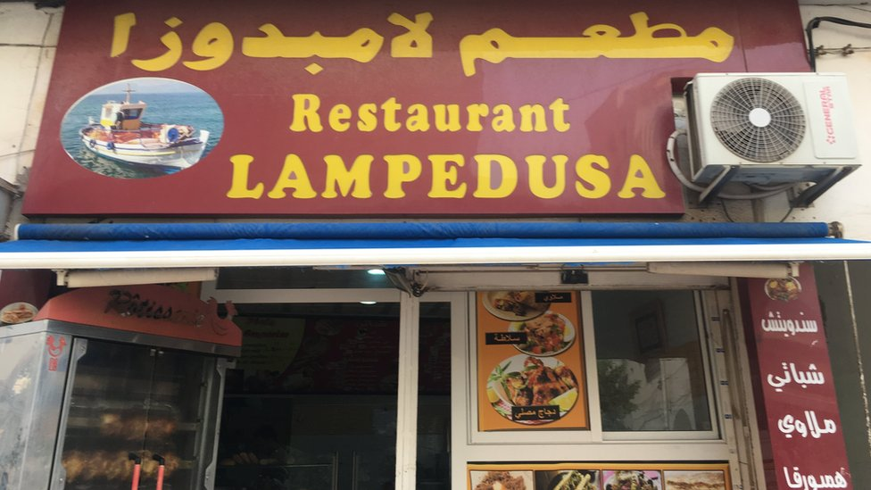 تشي أسماء بعض المقاهي في جرجيس بحلم الهجرة الذي يراود الكثيرين