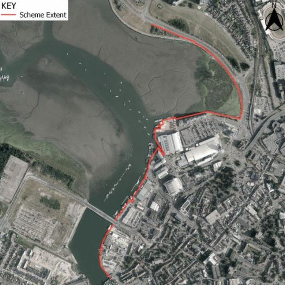 The proposed flood defence along Back Water Channel from Hunger Hill to Poole Bridge