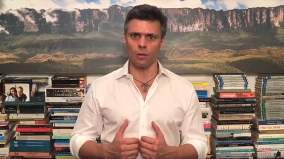 Leopoldo López speaking from his home in a video posted on 26 July 2017