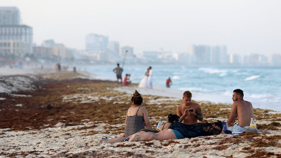 Tourists are seen on a beach covered wth seaweed in Cancun