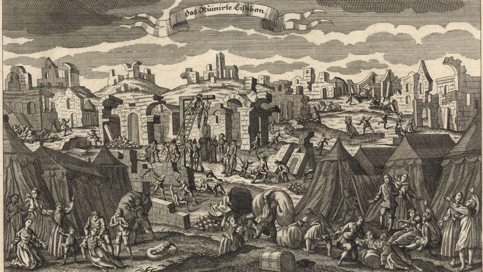 Ilustração do terremoto de Lisboa, em 1755