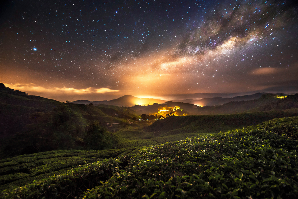 Starry nightscape over south-east Asia