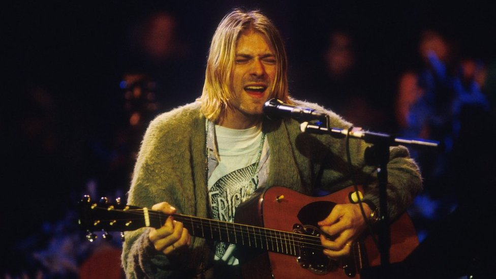 Kurt Cobain during the 1993 MTV Unplugged performance