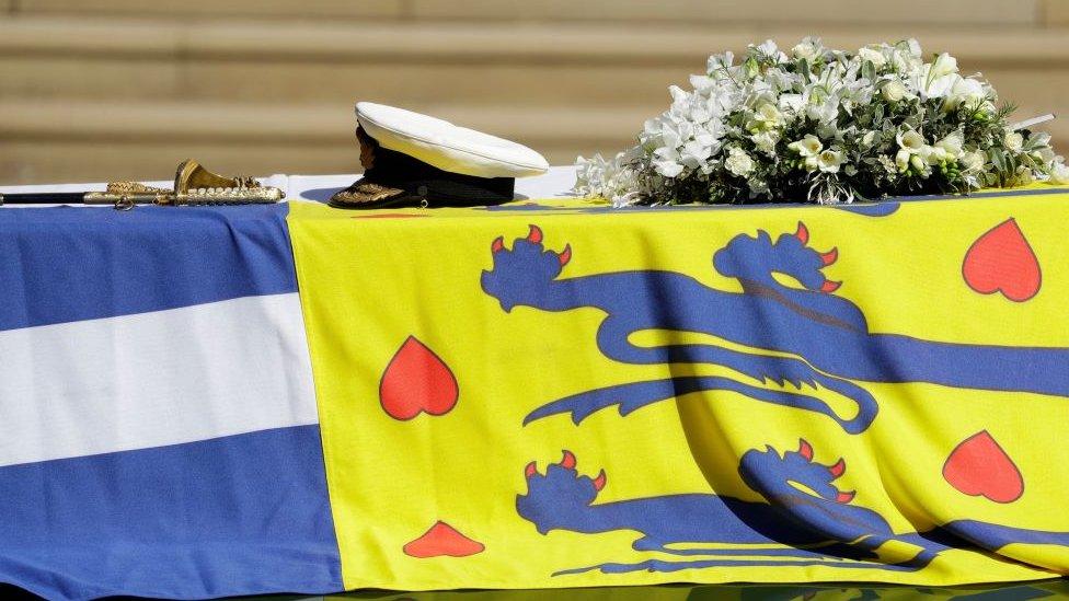 Féretro del príncipe Felipe, duque de Edimburgo.