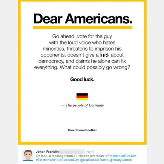 Johan Franklin's 'Dear Americans' note posted on Twitter