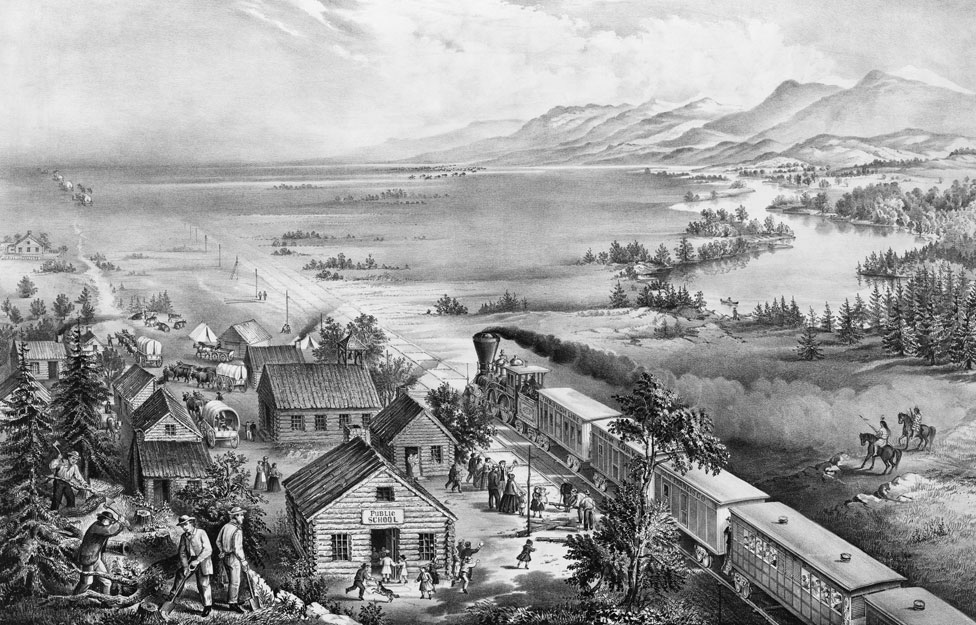A black and white lithograph print circa 1868 depicting the spread of settlers westward across the USA in the 19th century