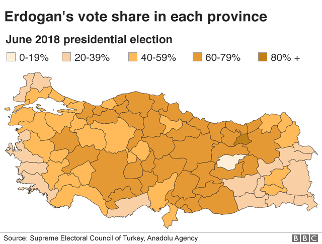 A map shows where Erdogan performed better, using a darker shade for a higher percentage of the vote in each area