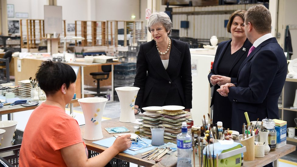 The PM and the DUP leader visited Belleek Pottery near the Irish border on Thursday