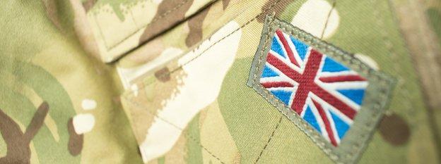 Union jack badge on Army jacket