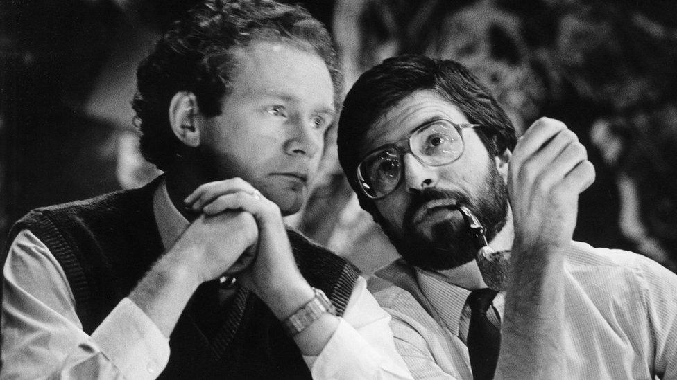 Martin McGuinness and Gerry Adams at the Sinn Féin Ard Fheis in 1985