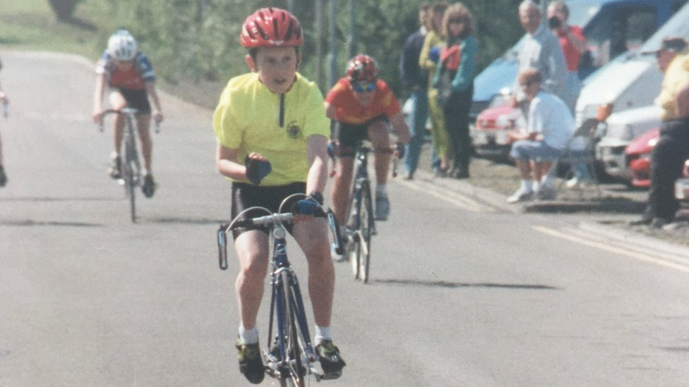 A young Geraint Thomas wins a race
