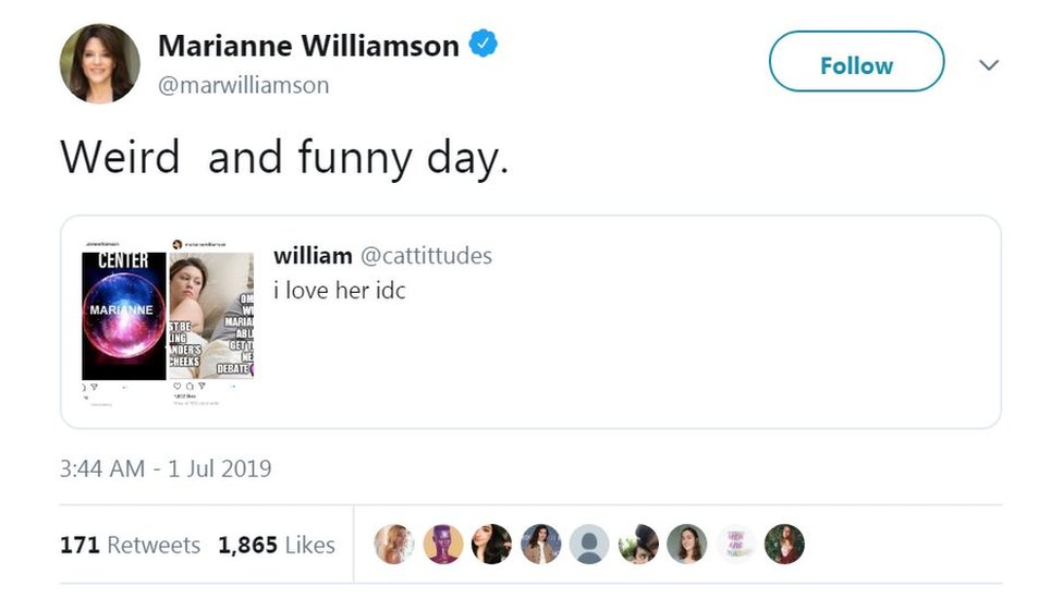 A screenshot of Marianne Williamson's Twitter page