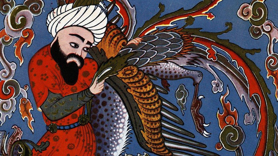 Hipócrates con un ave fabulosa