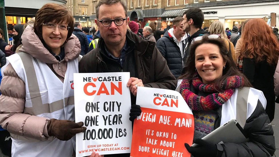 Hugh Fearnley-Whittingstall with campaigners in Newcastle