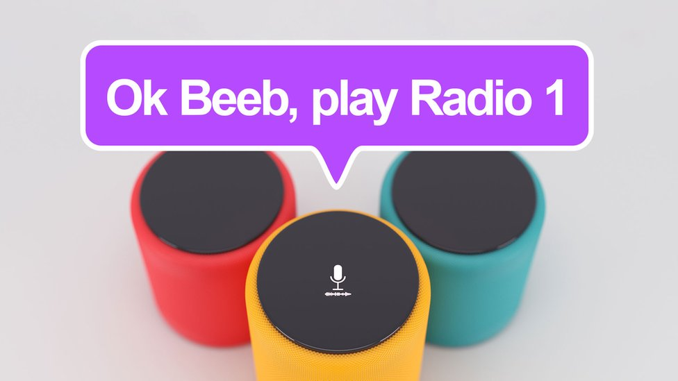 """A photo illustration shows a floating speech bubble over three smart speakers, with the speech bubble reading """"Ok Beeb, play Radio 1"""""""