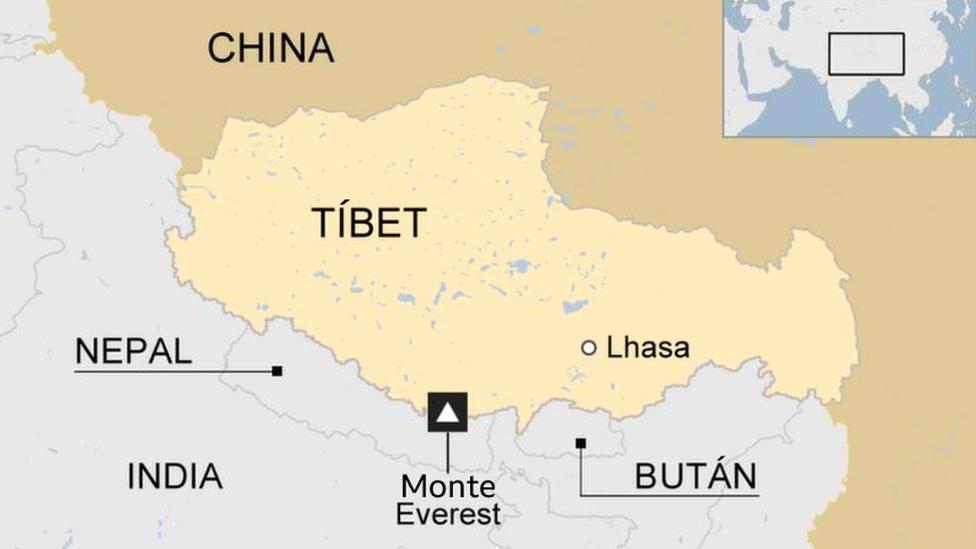 Mapa del Tíbet.