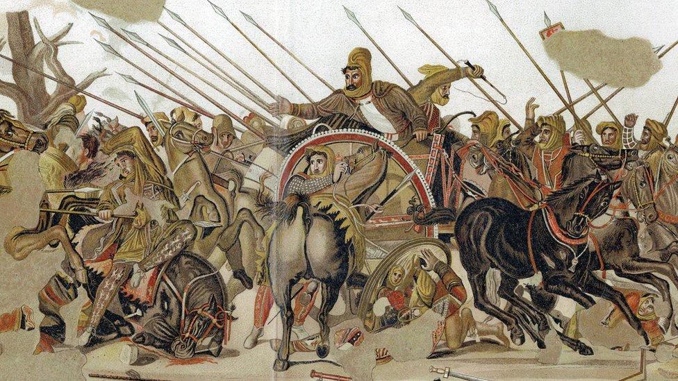 Alejandro Magno en la batalla de Issos.