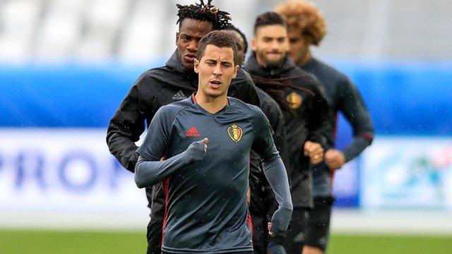 Eden Hazard leads the way as Belgium train in Bordeaux on Friday