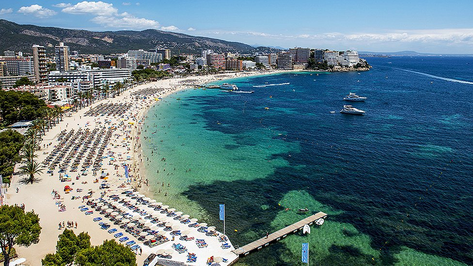 Magaluf beach in Mallorca, Spain in July 2014