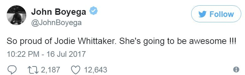 Screen grab of tweet by @johnBoyega