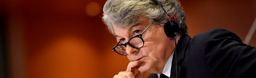 Thierry Breton listens during a hearing before the European Parliament in Brussels, 14 November 2019