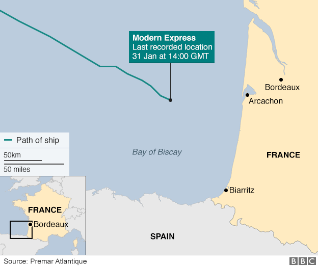 Map showing Modern Express's position