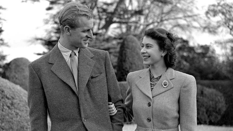 The Duke of Edinburgh and Queen Elizabeth II in 1947 on their honeymoon at Broadlands in Hampshire.