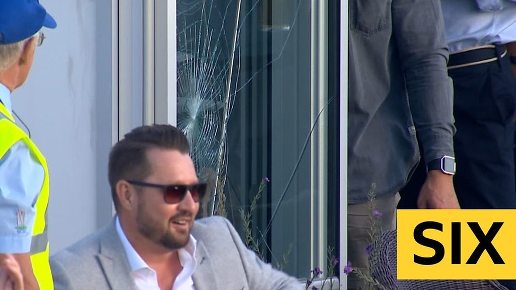 T20 Blast: Laurie Evans six smashes window during Sussex Sharks v Glamorgan