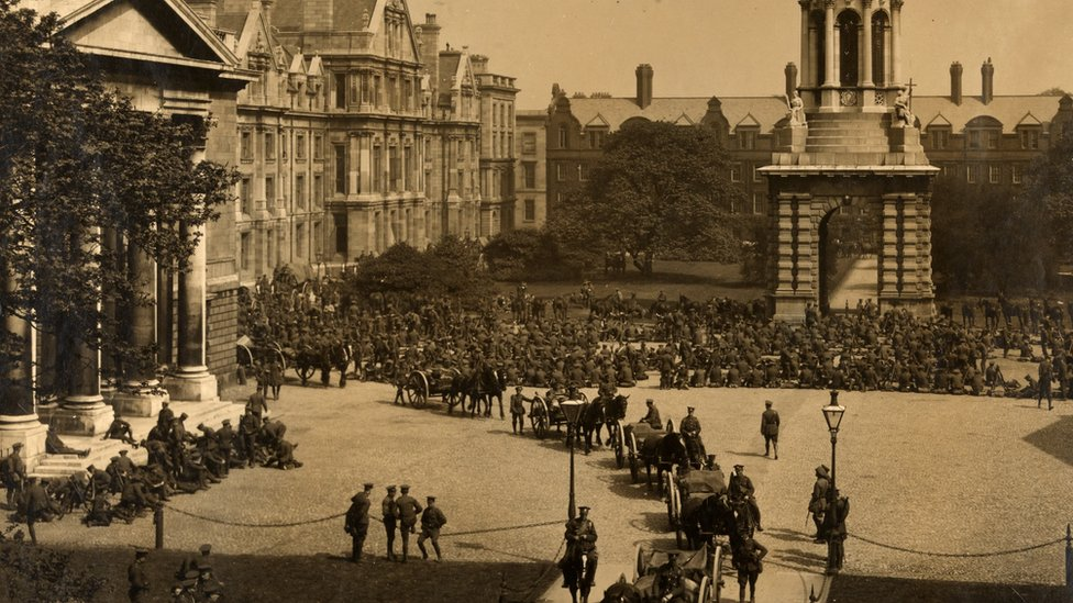 British soldiers parading in front square of Trinity College Dublin in the aftermath of the Easter Rising