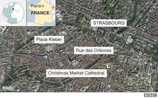 Map shows the location of Place Kléber in Strasbourg