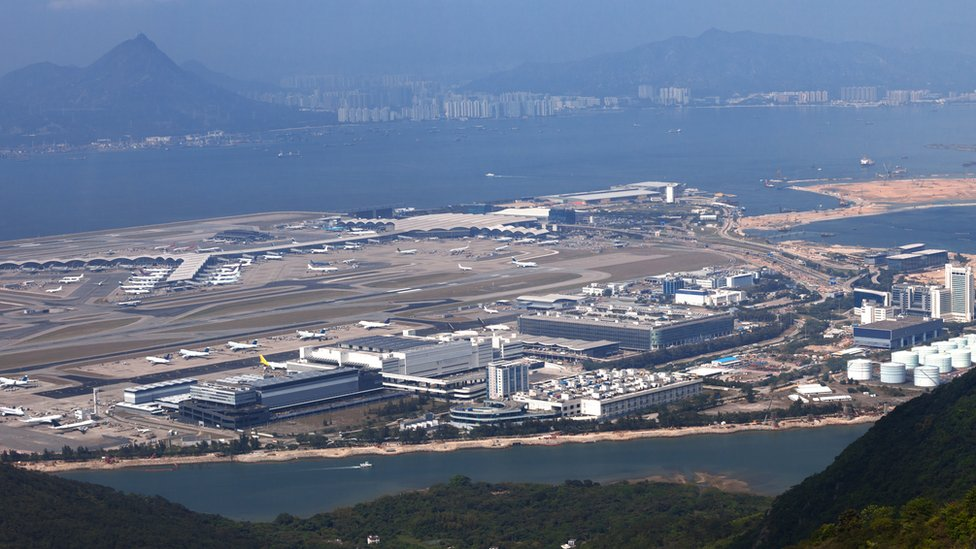 A picture of Hong Kong airport