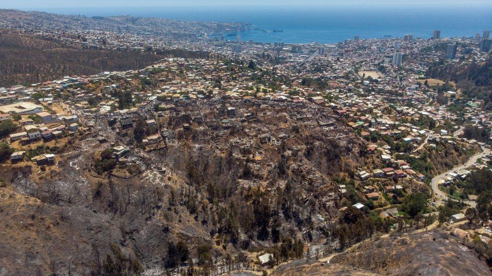 Zona afectada por el incendio en Valparaíso.