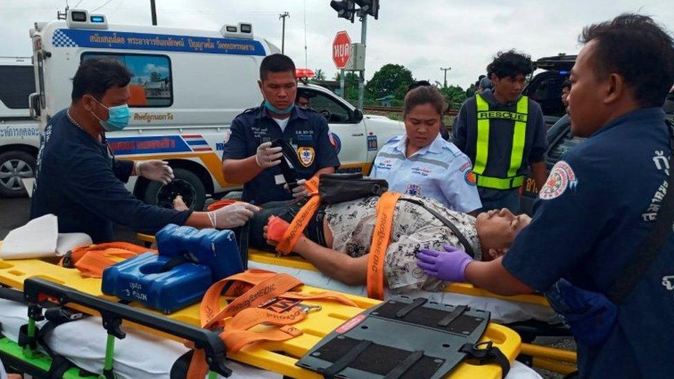 Thailand Crash Bus Collides With Train Killing 18 Bbc News