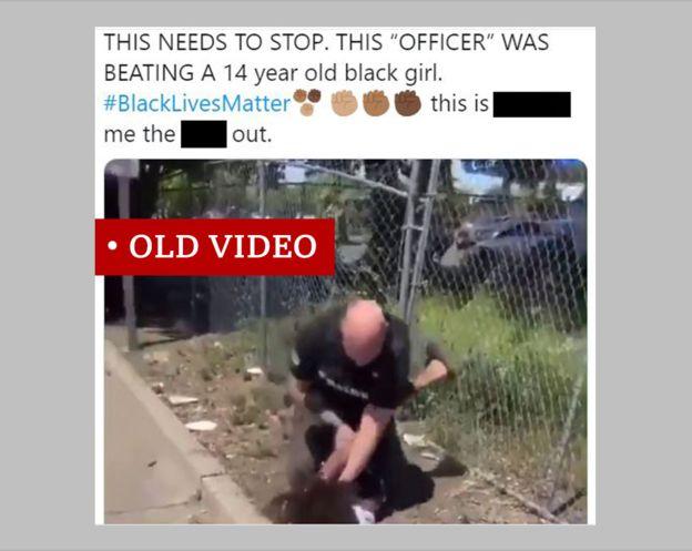 لقطة أخذت من تغريدة تظهر مقطع فيديو من أبريل/نيسان لاعتقال صبي. إن التغريدة مضللة وتقول إنها تتعلق بفتاة ولا تشير إلى أن الحادث وقع قبل موجة الاحتجاجات الحالية