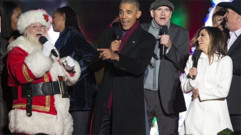 美國時任總統奧巴馬唱聖誕頌歌,2016年