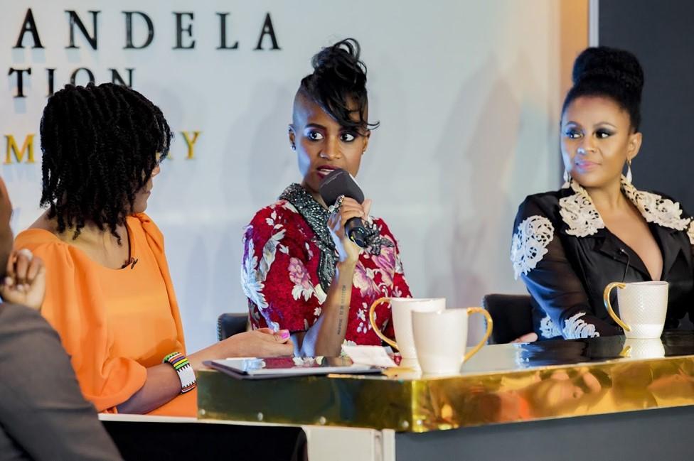 Candice Mama speaking at the Nelson Mandela Foundation
