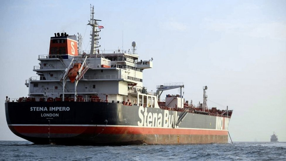 Stena Impero moored of the Iranian port of Bandar Abbas