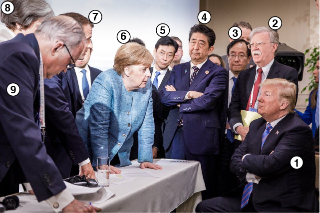 Líderes mundiales en conversación con Donald Trump