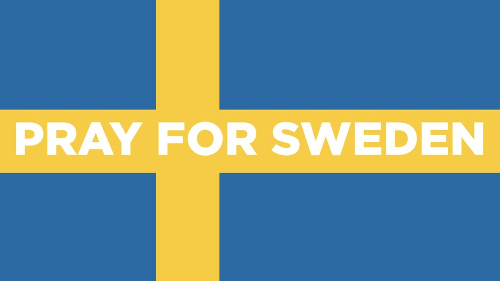 The Swedish flag with the text: Pray for Sweden
