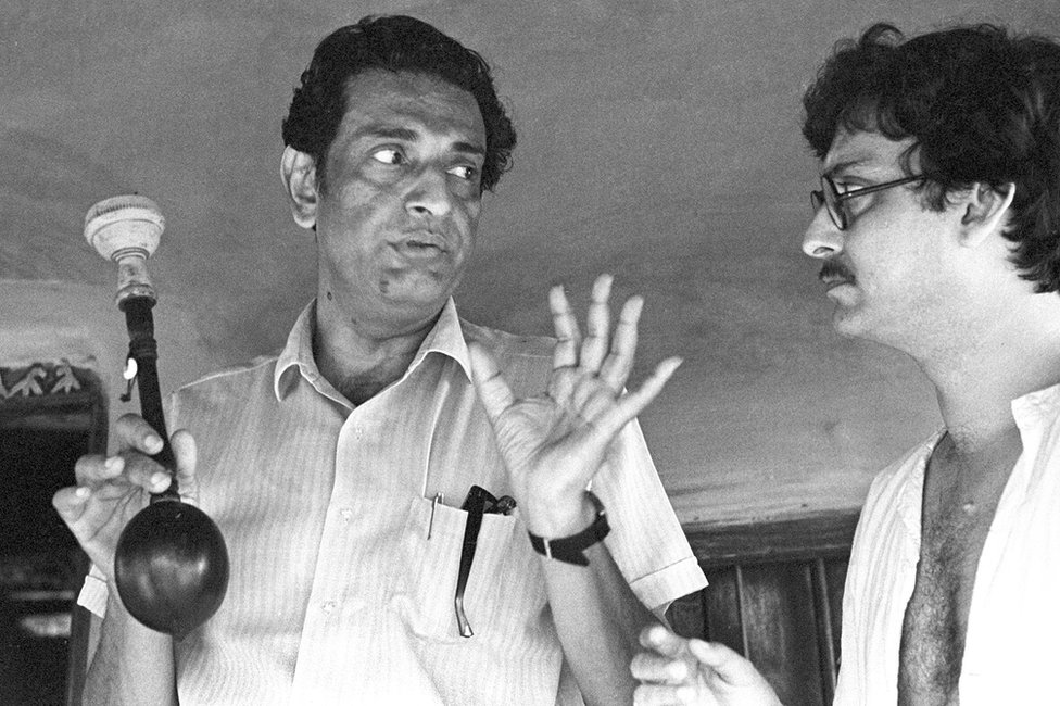 Satyajit Ray with Soumitra Chatterjee