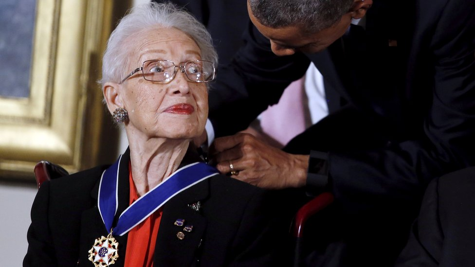 US President Barack Obama presents the Presidential Medal of Freedom to Nasa mathematician Katherine G. Johnson on 24 November, 2015.