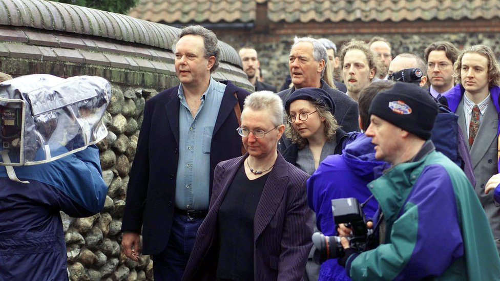 Lord Peter Melchett and other defendants outside court