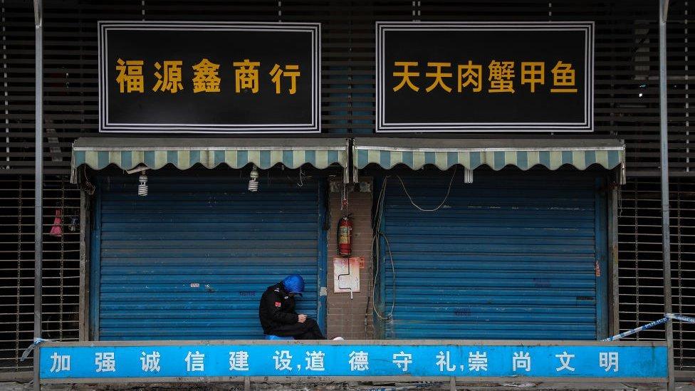 Mercado de mariscos de Huanan, en Wuhan.