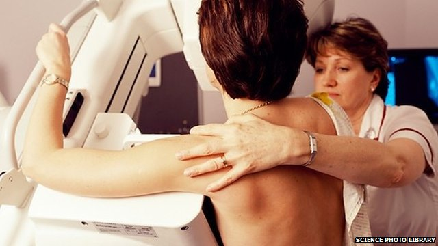 Radiologist positioning a woman for a mammogram
