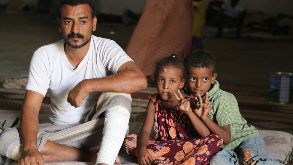 Dalal Ahmed Mohamed Salah and two children in Bossasso, Somalia