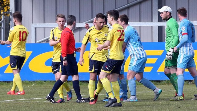 Dungannon Swifts were awarded an injury-time penalty by referee Ross Dunlop