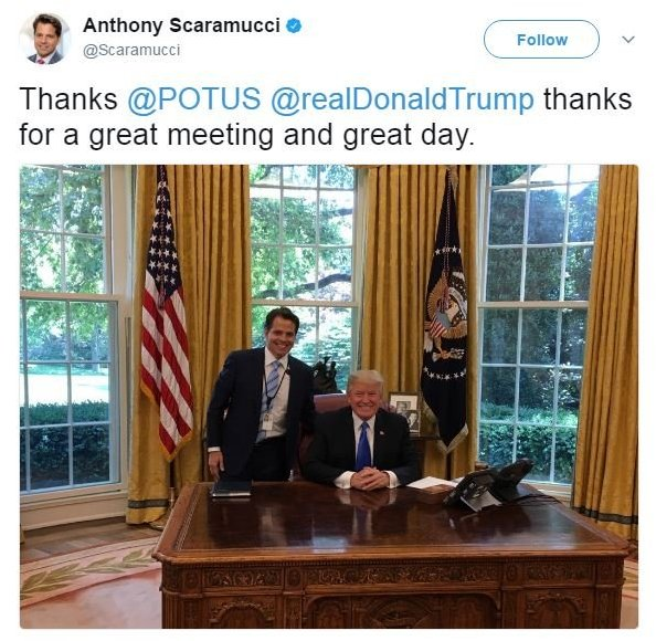 """On June 29, Anthony Scaramucci tweeted a picture of himself with Donald Trump, smiling broadly, which reads: """"Thanks @POTUS @realDonaldTrump thanks for a great meeting and great day."""""""
